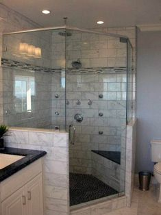 Bathroom decor for the master bathroom remodel. Learn master bathroom organization, bathroom decor tips, master bathroom tile a few ideas, master bathroom paint colors, and more. Handicap Bathroom, Bathroom Remodelling, Small Shower Remodel, Remodel Bathroom, Condo Bathroom, Tub Remodel, Basement Bathroom, Modern Master Bathroom, Master Bathrooms