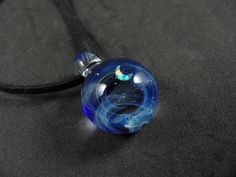 Blue Glass galaxy pendant necklace, Silver fumed Borosilicate space necklace, with a floating opal crescent moon, Starry Space Pendant - All the Interesting Information You're Wondering Here Interesting Information, Pendant Necklace, Moon Necklace, Handmade Beads, Glass Pendants, Opal, Gemstone Rings, Silver, Blue
