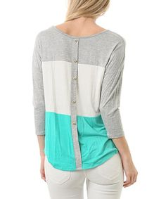 Loving this Mint & Ivory Color Block Button-Back Three-Quarter Sleeve Top on #zulily! #zulilyfinds