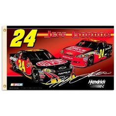 NASCAR Jeff Gordon 2-Sided 3-by-5 Foot Flag with Grommets by BSI. $33.14. Support your favorite driver by hanging this 3-by-5-foot 2-sided flag from B.S.I Products. This high-quality flag is made of durable polyester and is designed with 2 heavy-duty metal eyelets so it is easy to display. The officially licensed flag is decorated in the team colors and proudly displays the driver's name, car number, replica signature, primary sponsor logo and car. The graphics are...