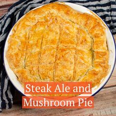 Can't beat a homemade, Steak and Mushroom Ale Pie. Follow along with our recipe where we show you how to make a proper pie with puff pastry on the top and bottom, otherwise known as a double crust pie. The best British pub-style Steak, mushroom and ale pie you will ever cook, with melt in the mouth beef and vegetables. The perfect dinner to impress, UK and US measurements are given. Potluck Dishes, Potluck Recipes, Pie Recipes, Dinner Recipes, Dessert Recipes, Steak And Mushrooms, Stuffed Mushrooms, Ale Pie, Steak And Ale