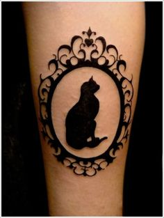 92 Cat Tattoos: every kind of kitty cat tattoo, style, cat tattoo design, and placement. All the Cat Tattoos info that you need. Girly Tattoos, Black Cat Tattoos, Mini Tattoos, Body Art Tattoos, Small Tattoos, Pet Tattoos, Tattoo Black, Animal Tattoos, Cameo Tattoo