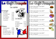 French menu printable- Students learning how to order food in French. in French French Teaching Resources, Teaching French, How To Speak French, Learn French, French Cafe Menu, Food In French, French Stuff, French Worksheets, French Education