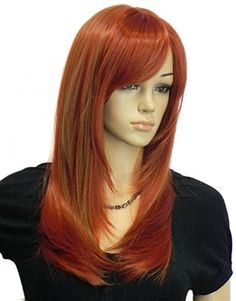 Diy Women's Long Straight Mixed Color Wine red and Brown Oblique Bangs Kanekalon Heat-resist Full Hair Wig