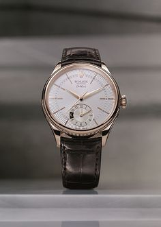 Rolex - Cellini Dual Time - everose gold silver guilloche dial with leather strap. Presenting the finest Men's Watches collection inspiration sharing. Best gift for men in fine suits. Rolex - Cellini Dual T Dream Watches, Cool Watches, Casual Watches, Datejust Rolex, Men's Rolex, Gold Rolex, Rolex Cellini, Style Masculin, Timex Watches