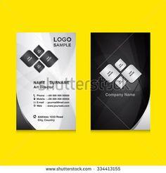 silver & black Vertical Business card design template vector illustration