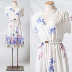Vintage 70s Dress purple white dress by TrendyHipBuysVintage