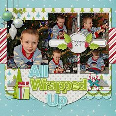 Christmas Scrapbook Page Layout. love the layers and photo placement Christmas Scrapbook Layouts, Scrapbook Titles, Scrapbook Sketches, Scrapbook Page Layouts, Baby Scrapbook, Scrapbook Paper Crafts, Scrapbook Cards, Scrapbooking Ideas, Christmas Layout