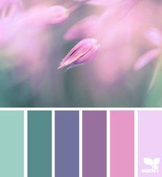 greens, lavender, pinks