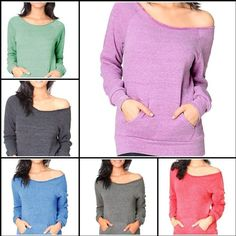 New FTLA Apparel Off the Shoulder Sweatshirt Eco Friendly Made in the USA