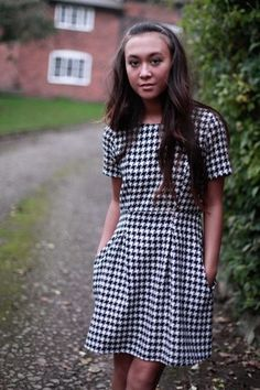 Madison Dress Houndstooth - Annie Greenabelle Ethical Fashion