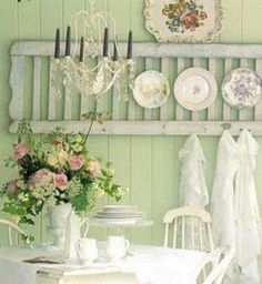 Shabby chic style, beautiful plates on shutter