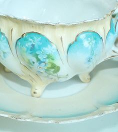 Antique RS Prussia Blue Flowers Scalloped Rim Footed Cup Saucer Red Mark | eBay