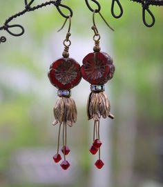 Red Bohemian Flower Earrings Gorgeous Victorian Brass Flower