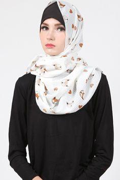 Dita Fox Pashmina  Harga Khusus Hanya: Rp. 69.000 Warna: White Bahan: Chiffon Panjang: 71cm x 180cm