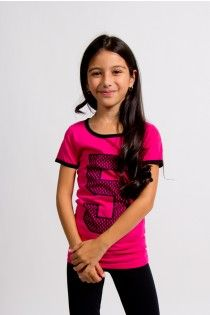 Tweens pink graphic tee, number 5