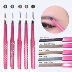 1pc Eyebrow Pencil Waterproof Durable Automaric Eye Brow Liner+3 Eyebrow Shaping