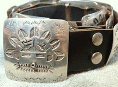 Vintage Hopi Kachina Concho Belt Native American Classic Sterling Silver Overlay | eBay