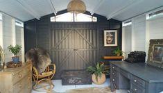 Backyard Sheds, Backyard Retreat, Garden Sheds, Farmhouse Sheds, Farmhouse Style, Shed Exterior Ideas, Black Shed, Shed Images, Tiny House Kits