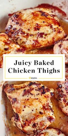 How To Cook Boneless, Skinless Chicken Thighs in the Oven - Chicken recipes Chicken Thighs In Oven, Baked Boneless Chicken Thighs, Juicy Baked Chicken, Boneless Skinless Thighs Recipe, Oven Chicken, Vinegar Chicken, Teriyaki Chicken, Chicken Thigh Bake Time, Chicken Thigh Pan Recipe