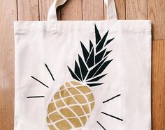 Hand painted pineapple tote bag