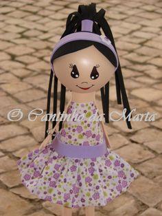 O Cantinho da Marta: Boneca Violeta - Vestido Tecido