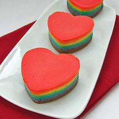 DIY mini-rainbow-heart-shaped-cheesecakes Cheesecake Recipes
