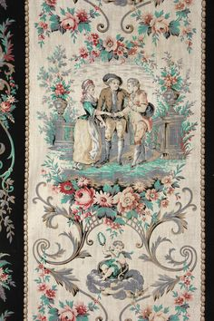 Antique French Fabric Toile Stripe c1890 Material Panel Gray Black Turquoise   eBay