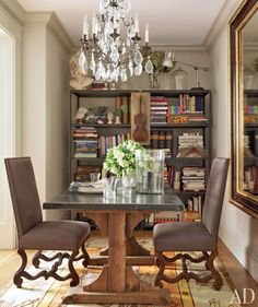 You could do this in your dining room. Instead of books, have your nice dishes. Like the large mirror. You need to get more peacock chairs.