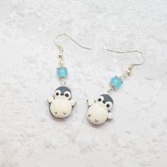 boucles d'oreilles  pingouins en polymère