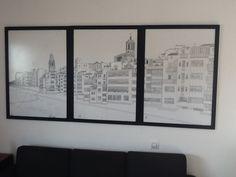 Girona en tres parts , dibuix a tinta sobre paper