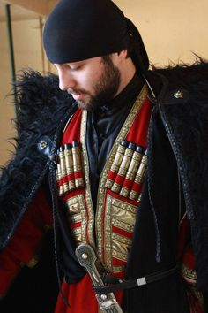 Georgian traditional costume attire North Caucasus men