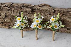 Boho Daisy Boutonniere Wildflower Wedding Boutonniere Groom   Etsy