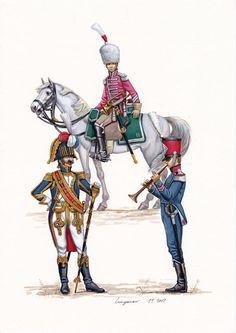 Tamburo maggiore dei granatieri della guardia imperiale, tromba della compagnia di élite dei cacciatoeri a cavallo della linea e musicante della fanteria leggera