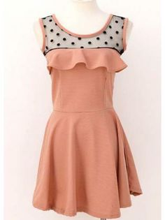 Cute Dot Print Tank Pattern Skater Dress Pink