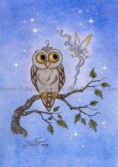 Amy Brown - Owl Meets A faery I love this...might get this! Love it so cute.