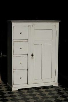 pretty antique painted pine food cupboard