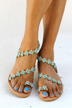 Handmade genuine greek leather sandals decorated with Italian made gold plated braid (hand sewn, with turquoise opal and transparent crystals).  A