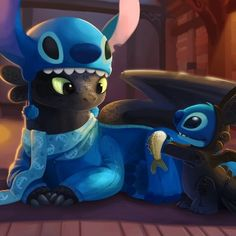So cute! Toothless and Stitch!