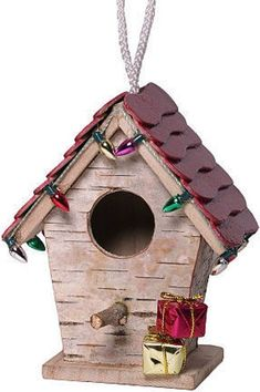 Christmas decorative birch covered bird houses. Each bird house is unique and handmade. Every piece will not be exactly like the photo shown, but the same high quality will be found in each piece. Includes one stick roof 4H X 4W X 2 1/2D, one metal roof 4 1/2H X 4W X 3D and one #decorativebirdhouses #birdhouses