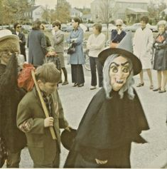 Vintage Halloween snapshot witch mask: school Halloween parade when we were allowed to celebrate and dress up at school. It's so generic and antiseptic now. No joy or mischief or adventure