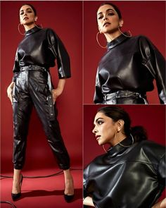 Red Pantsuit, Red Jumpsuit, Deepika Padukone Latest, Leather Jumpsuit, Indian Bollywood Actress, Paris Fashion, High Fashion, All Smiles, Leather