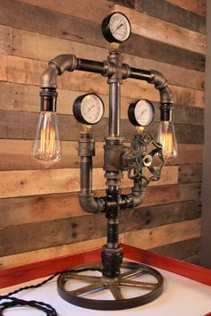 Industrial Steampunk Black Pipe Lamp w/ Gate by LightArtedVintage