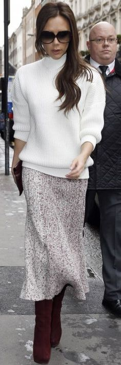 The Zoe Report - Victoria Beckham Ribbed Bordeaux Skirt White Sweater Fall Celebrity Street Style Inspo