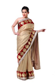 Ranas Woman Shimmer Georgette Champegne Sarees