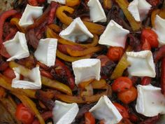 Chocshuka - Peppers, onions and tomatoes with goats cheese and chocolate :)
