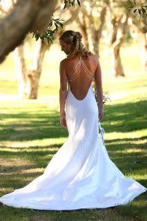 Backless wedding dress, halter front w/silver straps
