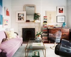Vintage Living Room - A purple couch paired with a pair of vintage Lucite chairs