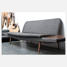 Mid-Century Couch blue, vintage, gray