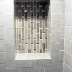 Stone Tan Tiles With Glass Accents Interior Designs Shower Niches Recessed Shower Shelf, Tile Shower Niche, Bathroom Niche, Bathroom Tub Shower, Shower Shelves, Tub Shower Combo, Small Bathroom, Washroom, Bathroom Remodeling